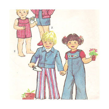 1970's Vintage Sewing Pattern Toddlers' Unlined Jacket and Overalls in Two Lengths Size 2   Simplicity 6297
