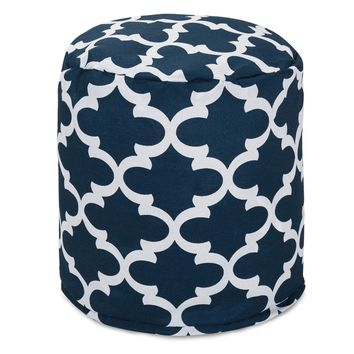 Navy Trellis Small Pouf