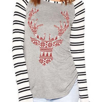 Striped Deer Head T-Shirt B0014197