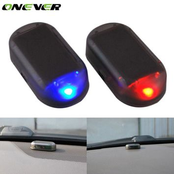 Onever Simulate Solar Car Anti-theft Alarm LED Light Imitation Security System Warning Theft Flash Blinking Lamp for Ford Audi