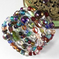 Multicolor Bead Memory Wire Wrap Bracelet India Glass Silver Handmade
