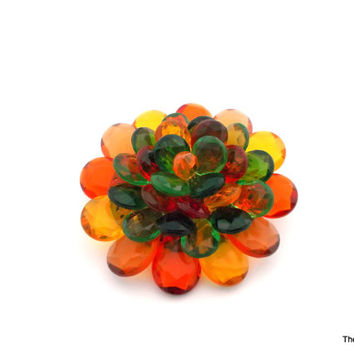 West Germany vintage Lucite faceted flower petal brooch yellow amber orange green red