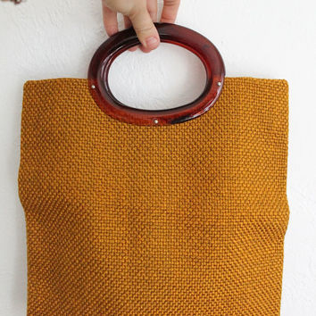 Vintage 70s Dark Gold Mustard Woven Tote Bag with Lucite Handles