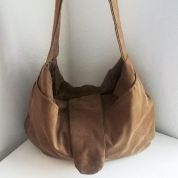 Camel hobo handbag - small tan vegan suede hobo  - Handmade handbags -Made to Order