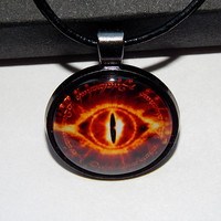 Eye of SAURON necklace pendant, Eye of Sauron symbol, Lord of the Rings jewelry pendant, Mordor symbol jewelry pendant keychain necklace