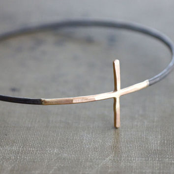 Gold Cross Sideways with Black Sterling Silver Bangle Bracelet