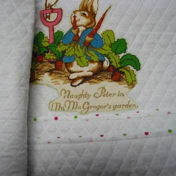 "Beatrix Potter Peter Rabbit blanket baby quilt crib toddler nursery hand made OOAK 41""by 36.5"" cotton 100%"