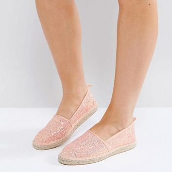 ASOS JOSIE Wide Fit Glitter Espadrilles at asos.com