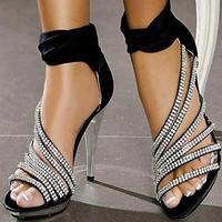 Shinning Rhinestone Leatherette Platform Stiletto Heel Sandals Heels Wedding Shoes