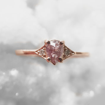 Ready to ship - Fenly - Pink rose cut diamond and light diamonds - 14k rose gold