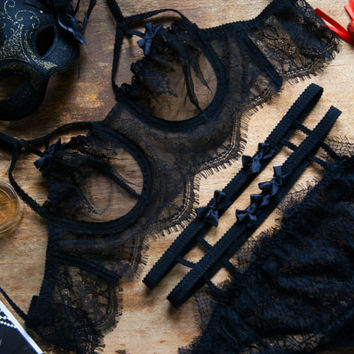 Sheer Lace Lingerie, Erotic Lingerie, BDSM, Black Lace Lingerie, Retro Lingerie Set, Cage Bikini Top, Ribbon Lingerie, Vintage Underwear