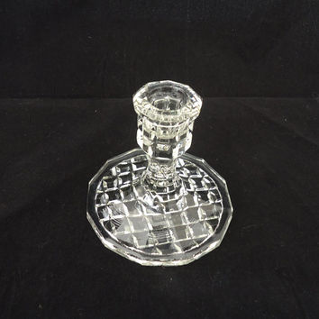 Vintage Art Deco Candlestick Holder , Depression Clear Glass Candle Holder , UK Seller