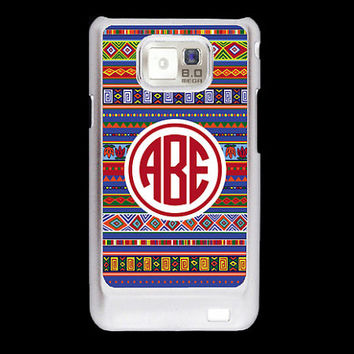 Monogram blue Aztec pattern Blue Inca tribal Samsung Galaxy S2 case, i9100 cover, personalized Samsung Galaxy SII cover, hard case