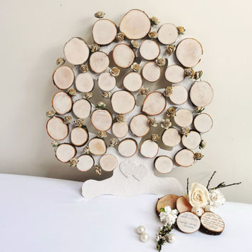 Tree Slice Wedding Tree Guest Book Rustic Wedding Decoration 3D Wall Hanging Tree Guest Book