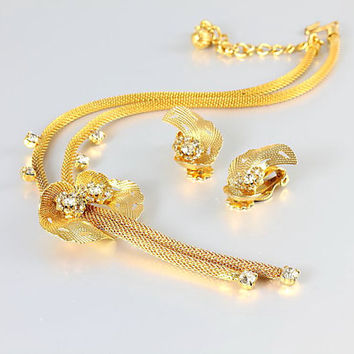 Gold Mesh Necklace Earrings set, Rhinestone Lariat Hobe Necklace, vintage jewelry