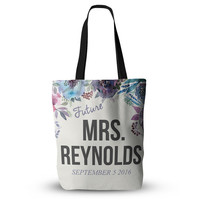 CUSTOM NAME and DATE Purple Pink Teal Floral Wife Wifey Fiancee Feyonce Wedding Bride Future Mrs Tote Bag 18x18