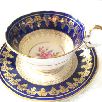 Antique Aynsley Cobalt Blue Tea Cup and Saucer/Elegant Tea Party/Fine Bone China/Wedding Gift - Ca. 1950's