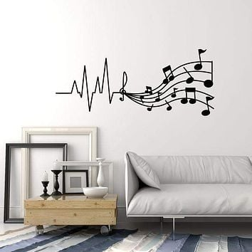 Vinyl Wall Decal Melody Sound Musical Notes Music Store Stickers (3122ig)