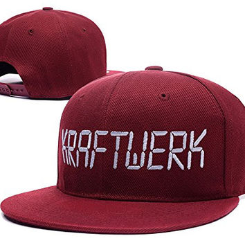ZZZB Kraftwerk Band Logo Adjustable Snapback Embroidery Hats Caps - Red