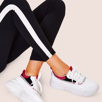 Lace-up Front Flatform Chunky Sole Trainers