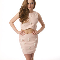 Blush Beaded Top and Skirt