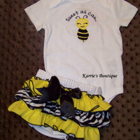 3 pcs BEE Set / Bodysuit + Ruffle Bloomer / Headband / Zebra / Yellow / Newborn / Infant / Baby / Girl / Toddler / Custom Boutique Clothing