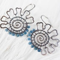 Original Handmade Spiral Earrings with Dark Teal Blue Apatite