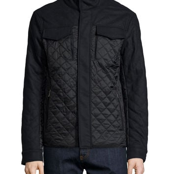 Mixed Media Quilted Flannel Jacket, Navy, Size: