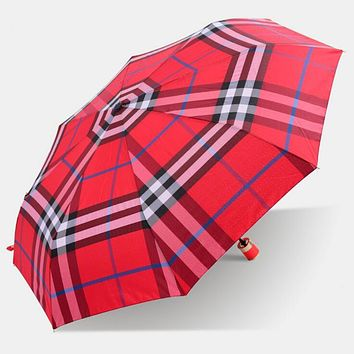 Trending Women Men Creative Classic Grid Print Folding Umbrella Red