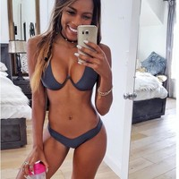 Sexy Underwire Push Up Triangl Biquini Female Extreme Micro Bikini Swimsuit Thong Bikini Swimwear Women Brazilian Bathing Suit
