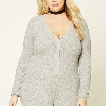 Plus Size Marled Knit Romper