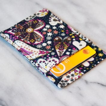 Slim card wallet - Hearts - Credit card wallet - Credit card case - Card Sleeve - Business card case - Front pocket wallet - OOAK - Paisley