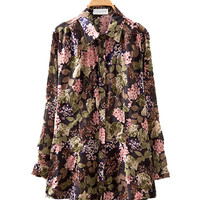 Army Green Floral Print Long Sleeve Collared Shirt
