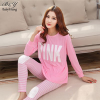 Summer Woman Pajama Sets Fashion PINK O-Neck Long Sleeve Womens Pajamas Milk Silk Homewear For Women Sleepwear Mujer Bathrobe