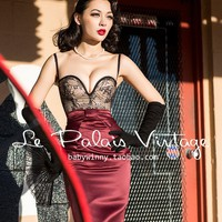 "Currently Sold Out check back -Le Palais Vintage ""Amore in Ambrosia"" Dress W/ Black Lace Sweetheart Neckline"