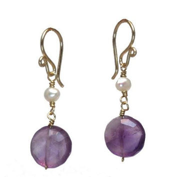 Pearl and Amethyst Rose Gold Earrings