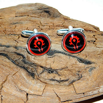 World of Warcraft Horde WOW Alliance Logo cufflinks jewelry, horde logo symbol emblem video game patch, men jewelry warcraft  cufflinks logo