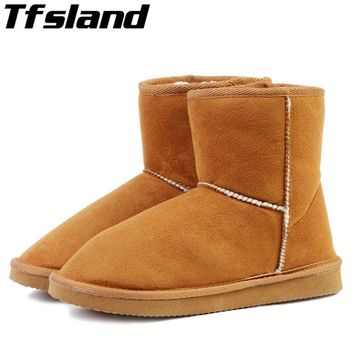 New Warm Winter Women Snow Boots Suede Leather Ankle Boots Shoes Woman Thermal Cotton-padded Snowboarding Skiing Shoes Sneakers