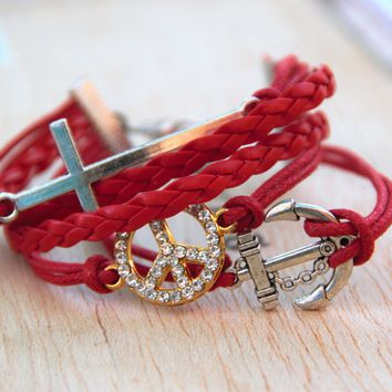 Ladies Fashion Bracelet with Red Cord with Cross Anchor and Peace Sign
