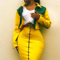 A yellow bright leather frock/skirt