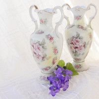 Vintage Shabby Chic/Cottage Style Hand Painted Artmart Porcelain Vases, Set of 2