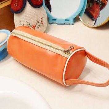 Vintage Orange Travel Bag Vinyl Tubular Purse 1960s Mod Handbag Makeup Bag Toiletries Shaving Kit Flight Hiking Carry On Boho Style