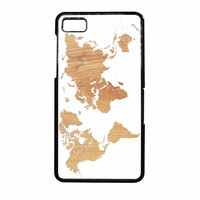 World Map On Wood Texture Print White BlackBerry Z10 Case