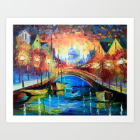 Evening Amsterdam Art Print by olhadarchuk