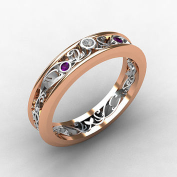 Amethyst ring, white gold,  Diamond, filigree, wedding band, purple, gold, lace, filigree wedding ring, thin, unique, amethyst wedding
