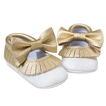 Gold Shoes Soft Sole Moccasin Newborn Babies PU leather Slip-on First Walker