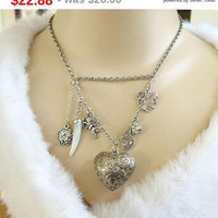 SALE Silver Tone Puffy Heart and Cherub or Cupid and Hearts Vintage Charm Necklace