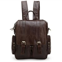 Leather Backpack / Travelling Bag / Messenger in Dark Coffee