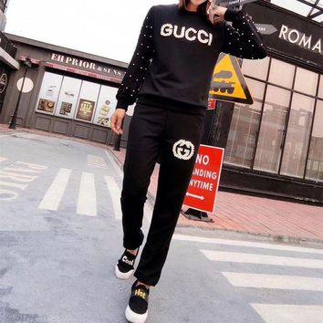 ONETOW Gucci' Women Fashion Pearl Logo Letter Long Sleeve Trousers Set Two-Piece Sportswear