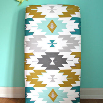 fitted crib sheet in teal kilim